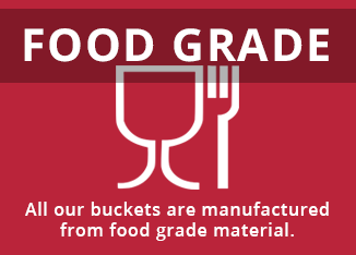 Food grade buckets - all of our buckets are manufactured from food grade material.