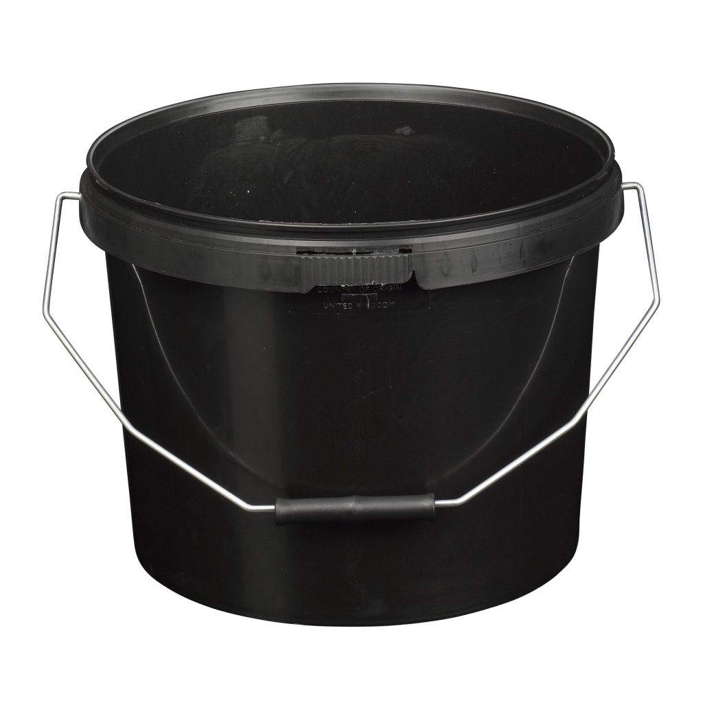 10L Tamper Evident Black Plastic Buckets With Lid