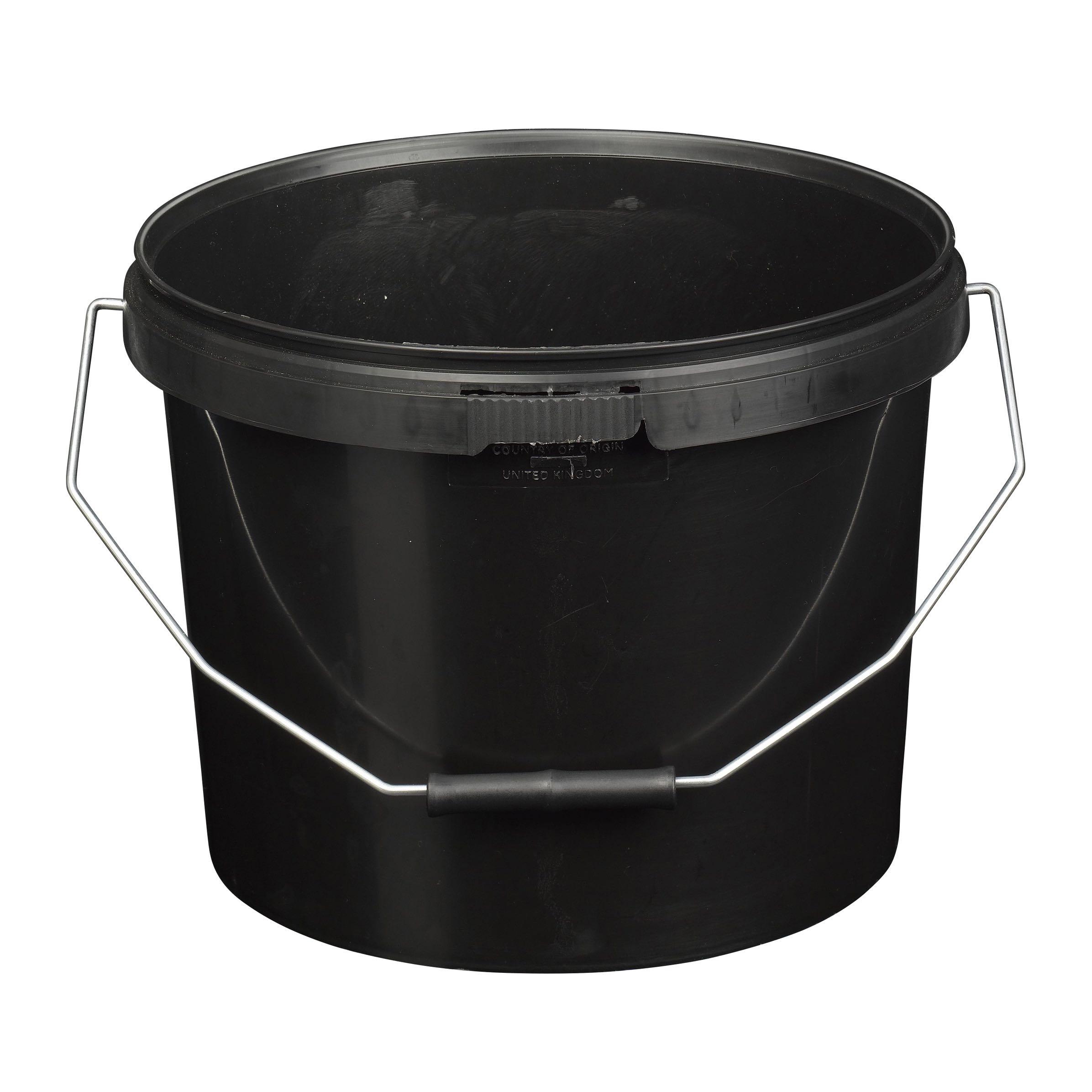 10l Tamper Evident Black Plastic Buckets With Lid H Amp O