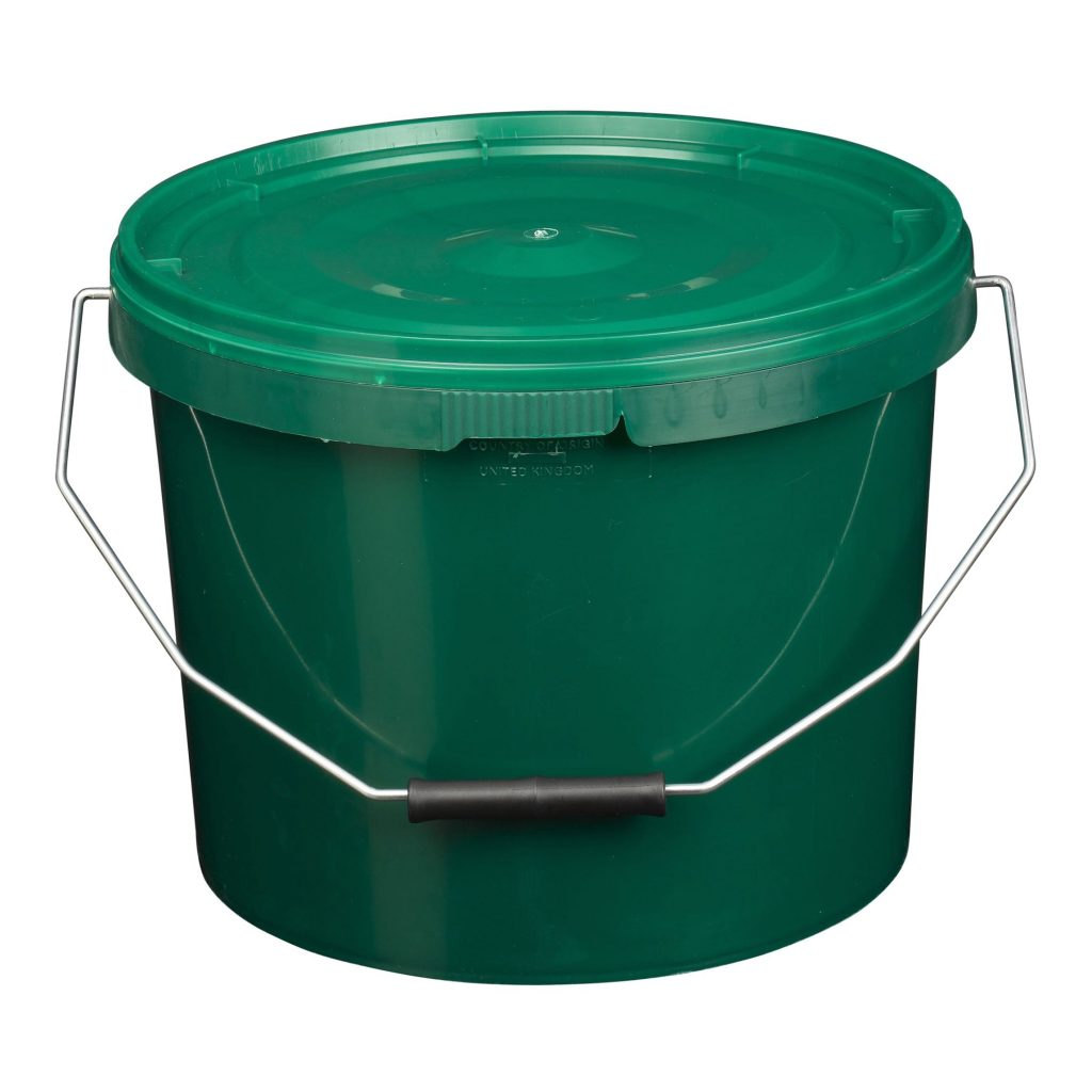 10L Tamper Evident Green Plastic Buckets With Lid