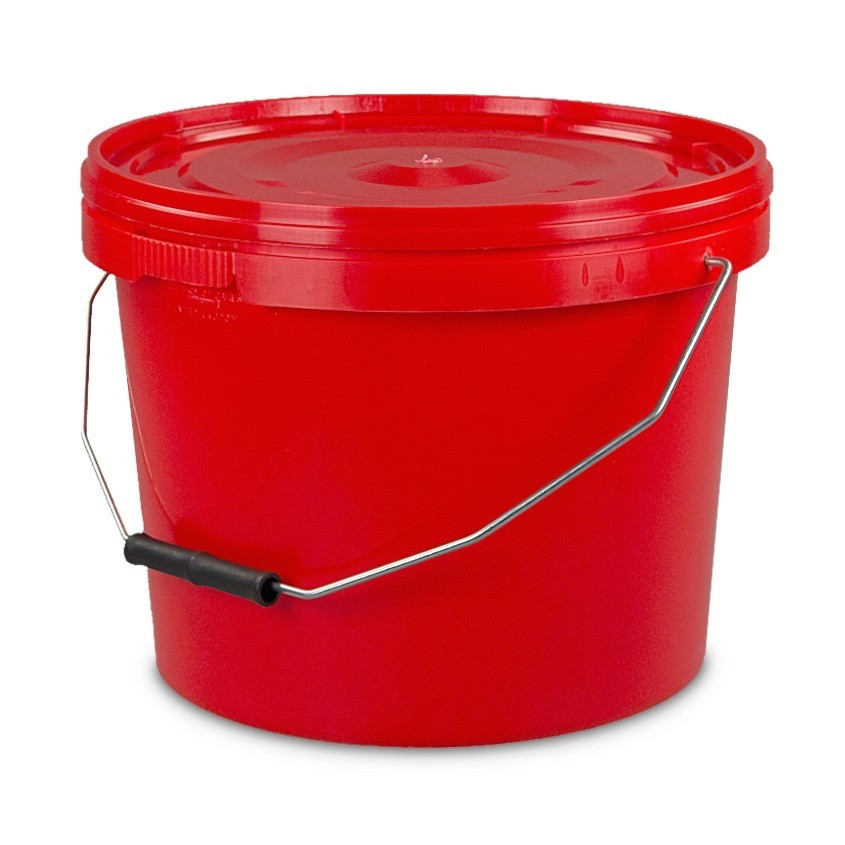 10L Tamper Evident Red Plastic Buckets With Lid