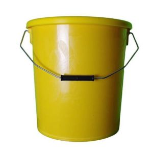 16 Litre, yellow plastic bucket comes with plastic lid and metal handle. Suitable for storage and transportation of food products and chemicals.