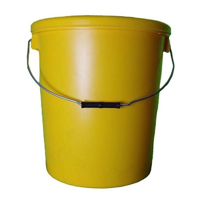 25L Yellow Plastic Buckets With Lid