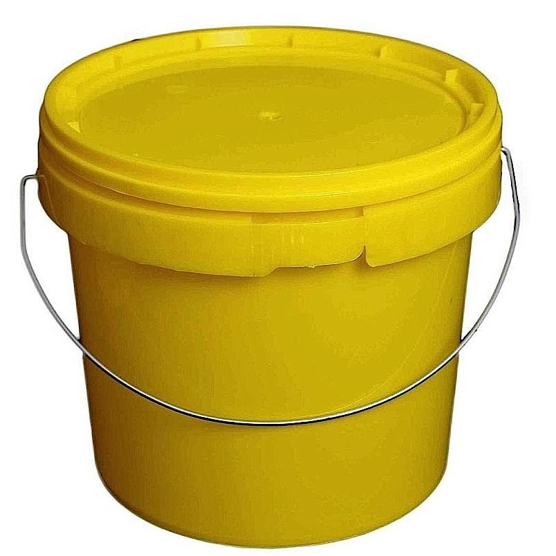 5L Yellow Plastic Buckets With Lid