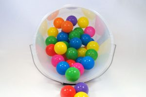 clear plastic bucket with balls (for display purposes only)