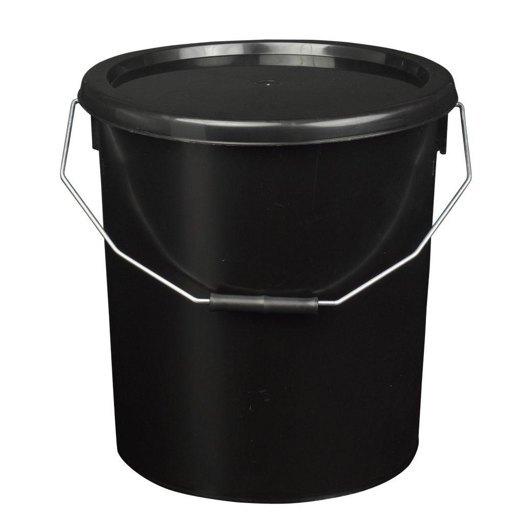 16L Black Plastic Buckets With Lid