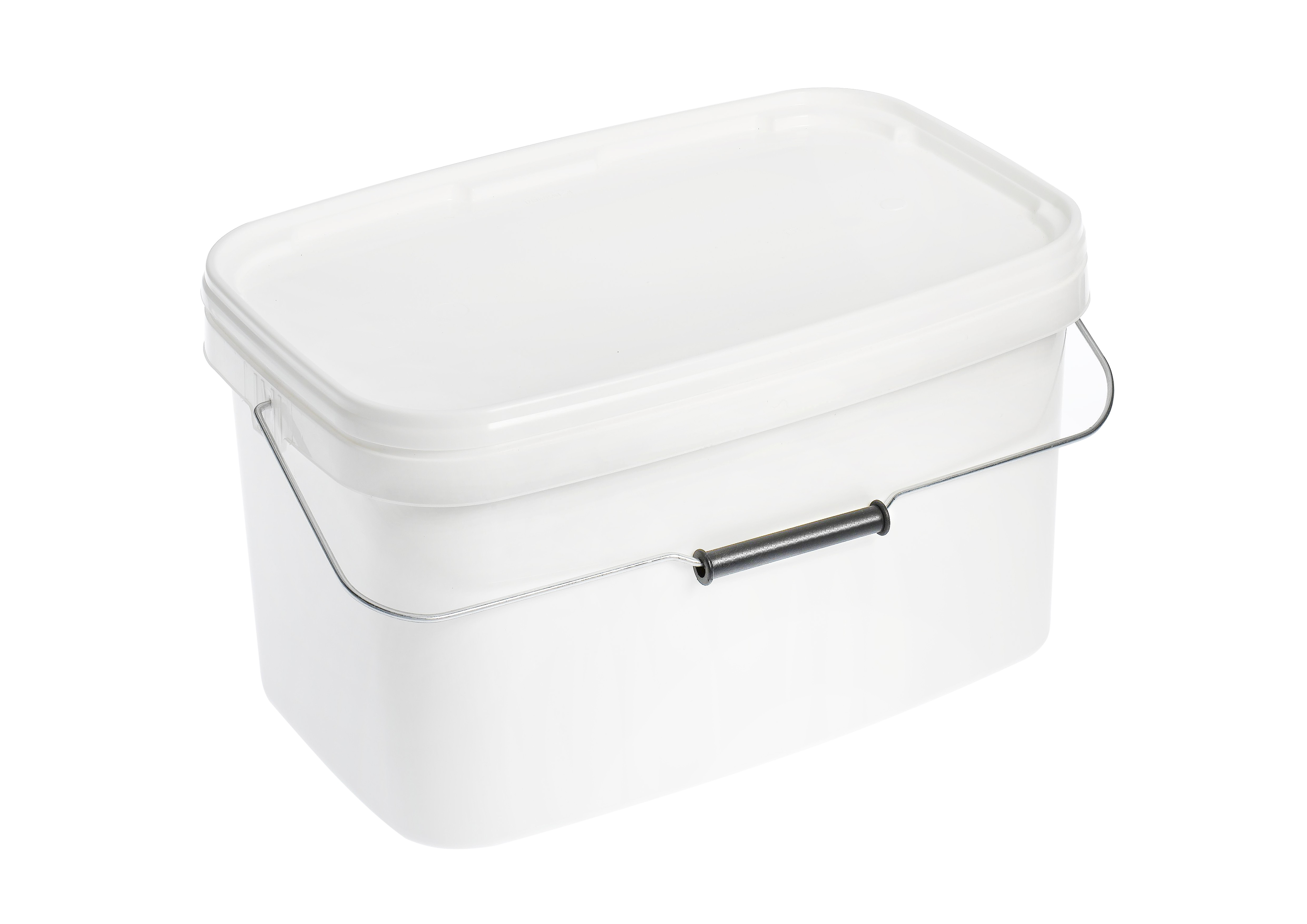 10L White Rectangle Plastic Buckets With Lid HO Plastics