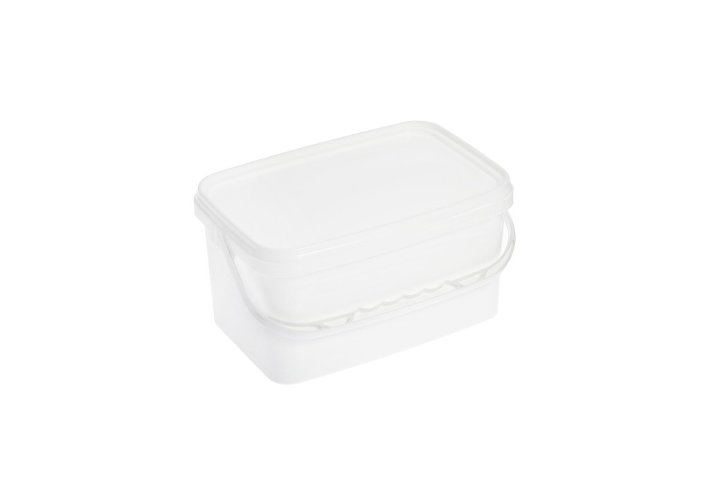 2.5L White Rectangle Plastic Buckets With Lid
