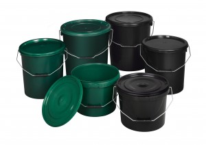 Fishing buckets in various colours