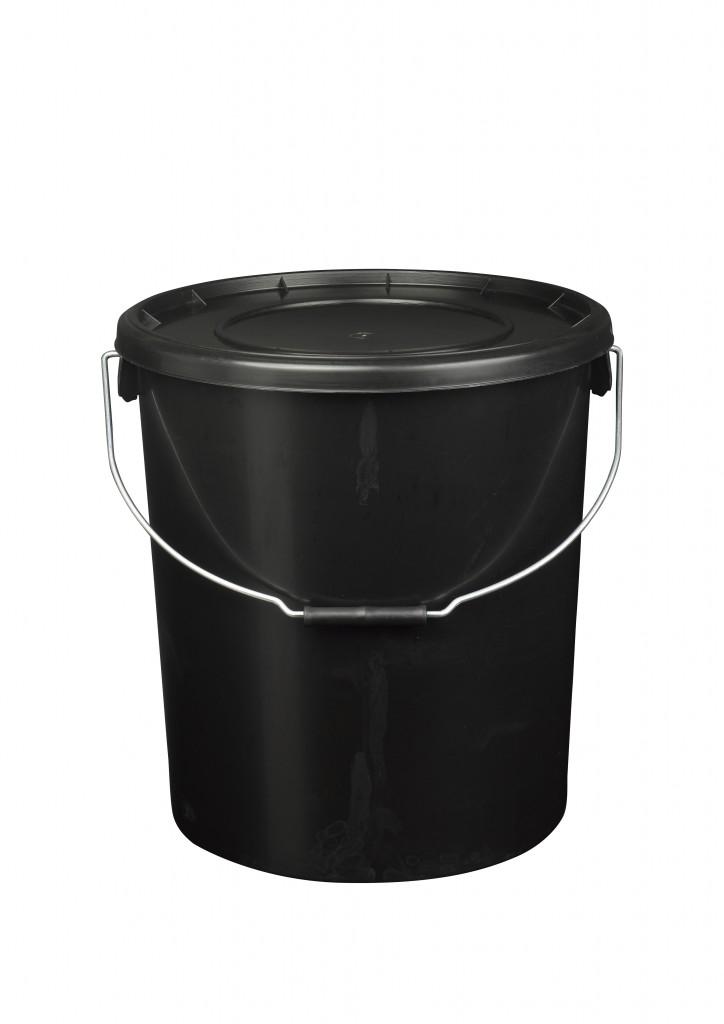 25L Black Plastic Buckets With Lid