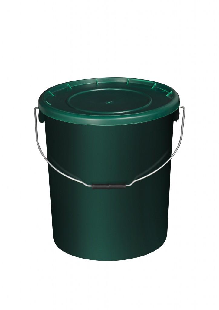 25L Dark Green Plastic Buckets With Lid