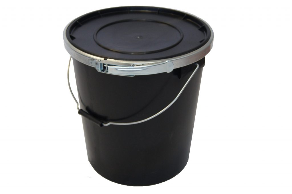 Black 25L UN Container With Lid (Inc rubber fitting and metal band)