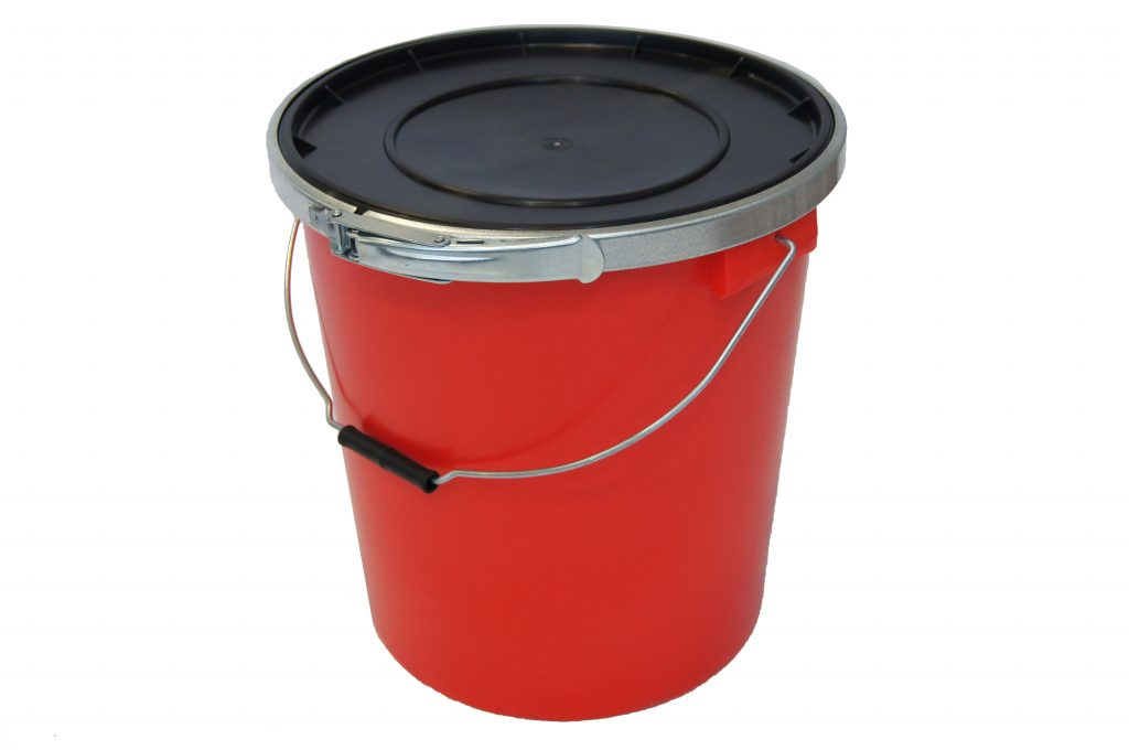 Red 25L UN Container With Lid (Inc rubber fitting and metal band)