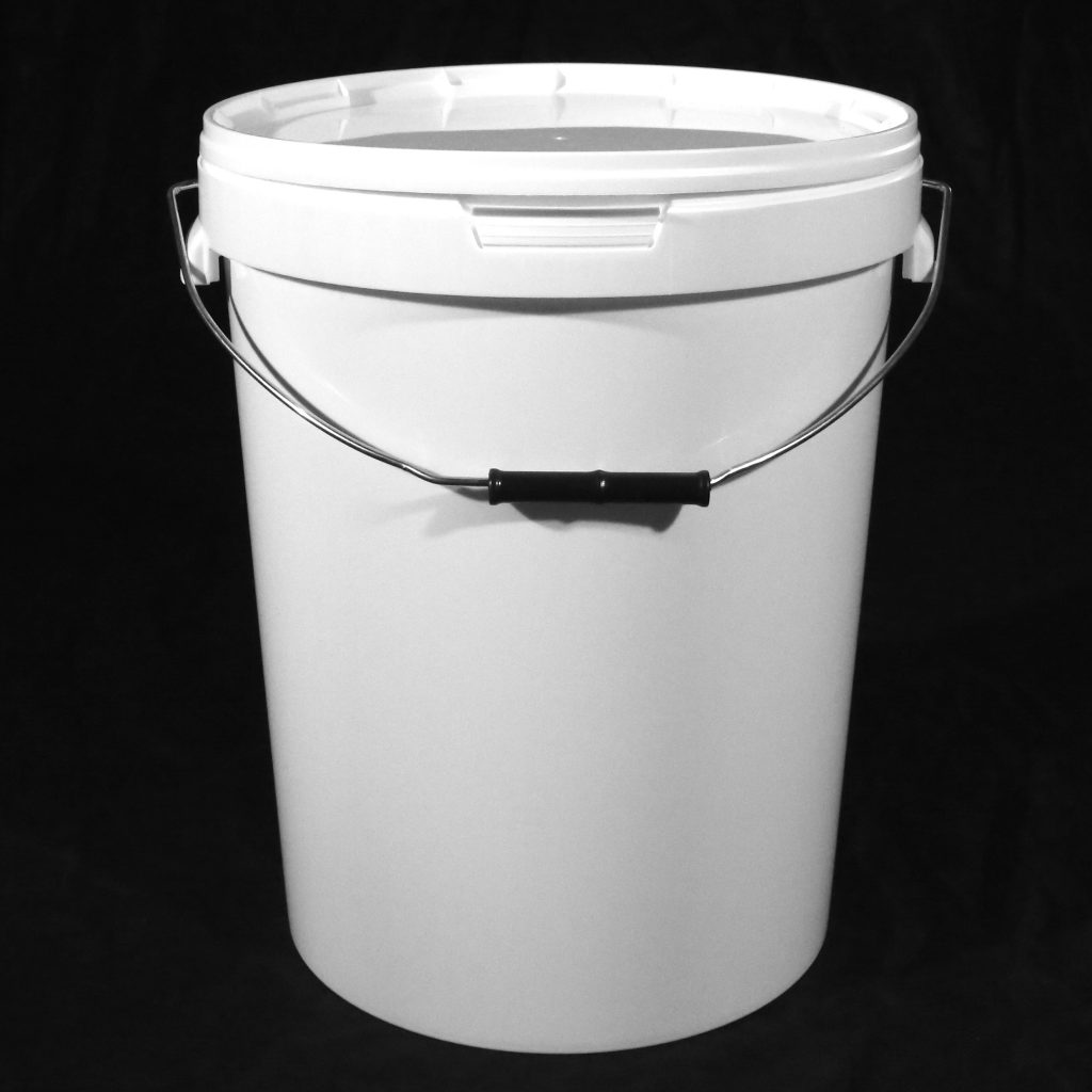25L White Tamper Evident Plastic Buckets with Lid