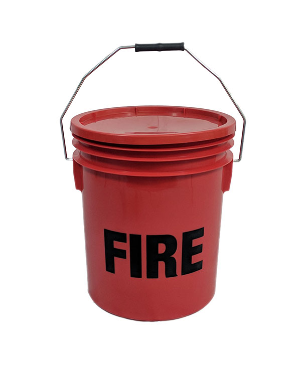 Plastic Fire Bucket with Lid Red 16L