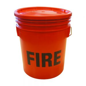 red plastic fire buckets