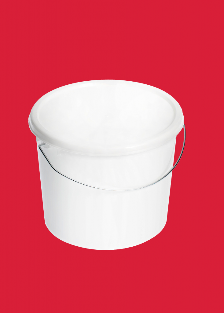 2.5L White Standard Plastic Bucket with Lid and Wire handle