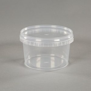 small clear plastic food pot
