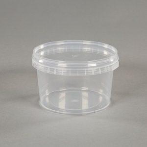 small clear plastic food pot