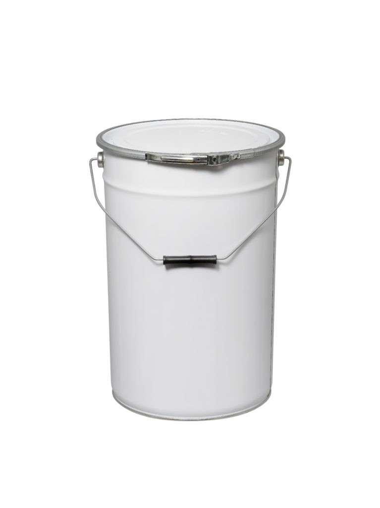 White 25L Metal UN Pail with Fastening ring and lid