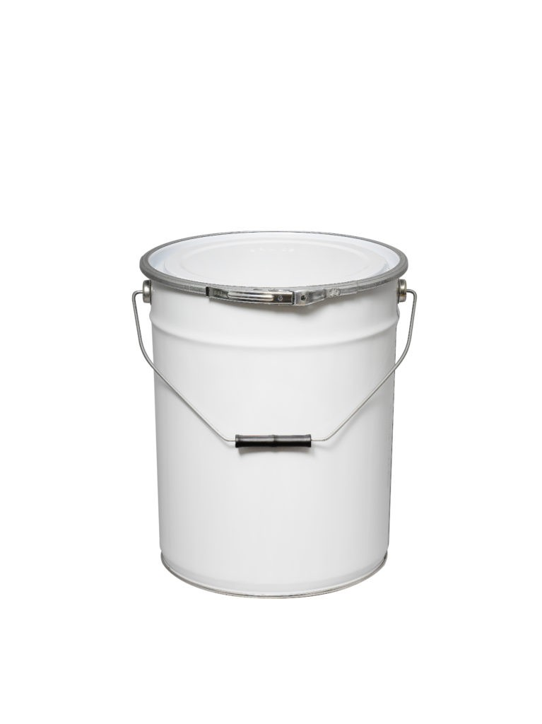 White 20L Metal UN Pail with Fastening ring and lid
