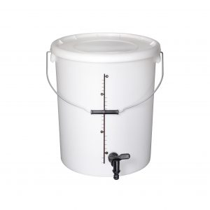 25l Homebrew bucket with tap, lid and printed graduation scale