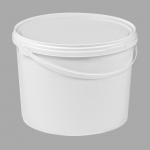 10l White Round Plastic bucket with lid and plastic handles