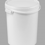 25l White Food Safe Plastic Bucket with plastic handles and lid