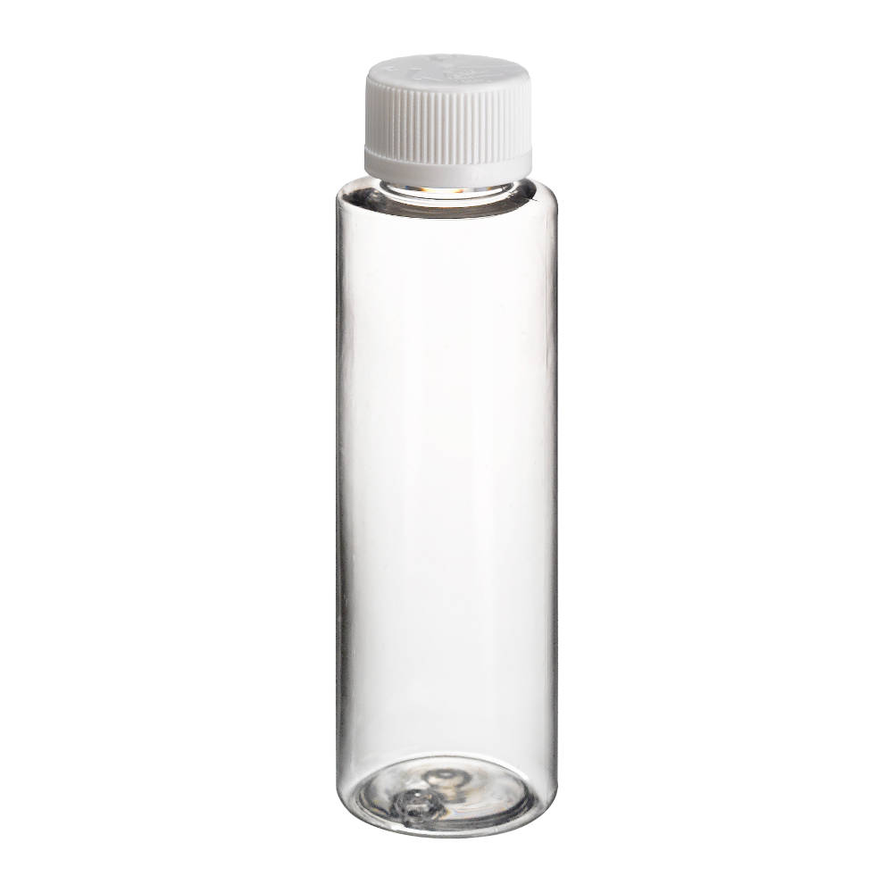 200ml Tall Clear PET Bottle with White Screw Cap