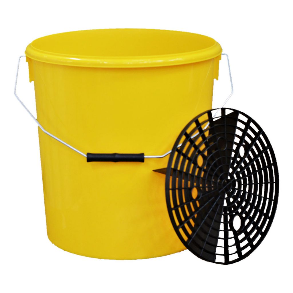 16L Yellow Car Wash Bucket with Grit Shield